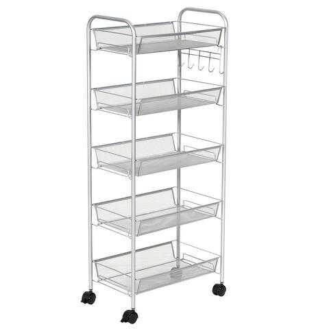 Costway 5 Tier Mesh Rolling File Utility Cart Storage Basket Home