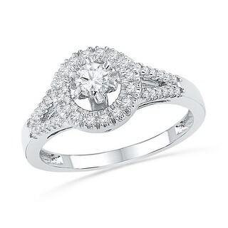 3/8Ctw Diamond 1/5Ct-Crd Bridal Engagement Ring 10K White-Gold