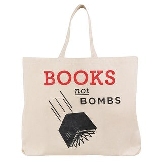 Women's Books Not Bombs Funny Printed Cotton Canvas Tote Bag - Beige - One size