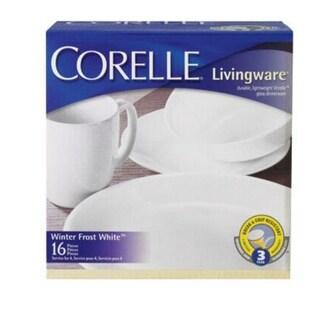 Corelle 6022003 Livingware Winter Frost White Dinnerware Set, 16 Piece