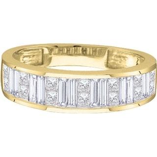 1/4Ctw Princess Bagguette Diamond Ladies Invisible Band Yellow-Gold 14K