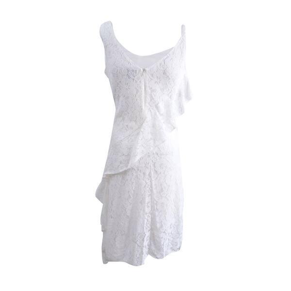 Taylor Womens Ruffled Lace Midi Dress Off White