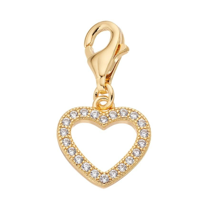 Julieta Jewelry Heart Outline CZ Clip-On Charm - Thumbnail 0