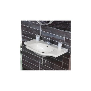 "Nameeks 081000-U  CeraStyle 25-3/5"" Ceramic Wall Mounted Bathroom Sink with 1 Faucet Hole and Overflow - White - One Hole"