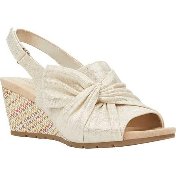15e0881ca9 Bandolino Women's Gayla Wedge Slingback Gold Metallic Coated Linen