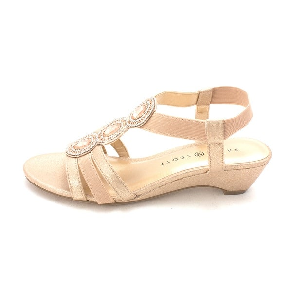 Karen Scott Womens Casha Open Toe Casual Platform Sandals Light Gold Size 95