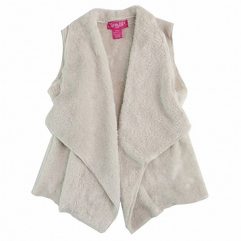 Say What Girls Outerwear White Ivory Size 14-16 Fleece Open Front Vest 184