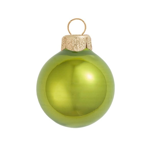 "6ct Pearl Green Kiwi Glass Ball Christmas Ornaments 4"" (100mm)"
