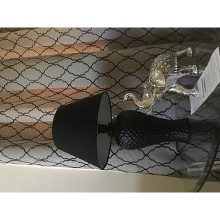 Textured Stucco Curvy Ceramic Table Lamp, Black