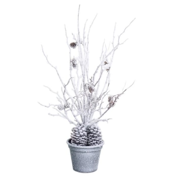 """24"""" White and Brown Snow-Covered Potted Christmas Branch Tree"""