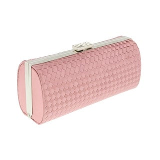 Scheilan Rose Fabric Weave Box Clutch/Shoulder Bag - 7.5-3.5-2