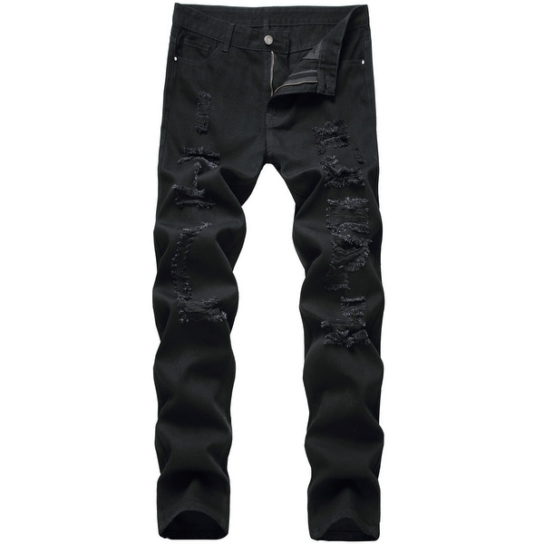 Men's Skinny Ripped Jeans Stretch Straight Leg Distressed Jeans Pants. Opens flyout.