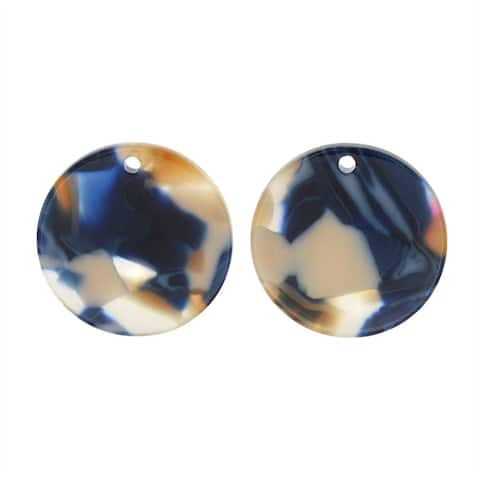 Zola Elements Resin Pendant, Twilight Coin 20mm, 2 Pieces, Blue Multi-Colored
