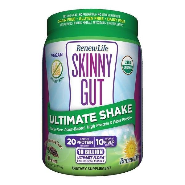 Renew Life Skinny Gut Ultimate Shake - USDA Organic - Vegan - High Protein & Fiber Powder - Plant Based - Probiotics