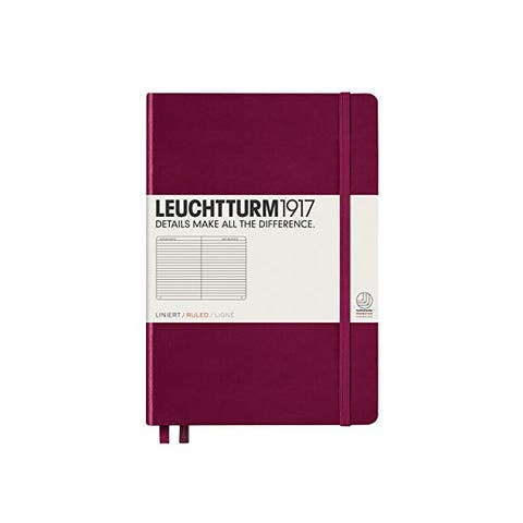 LEUCHTTURM1917 - Medium A5 Ruled Hardcover Notebook (Port Red) - 251