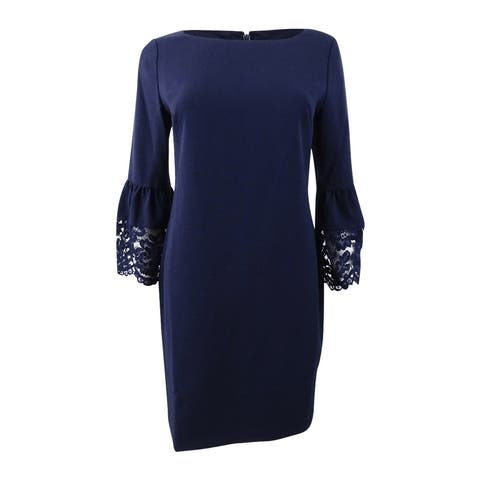 c818575ad4 Jessica Howard Women s Petite Floral Lace-Bell-Sleeve Dress - Navy