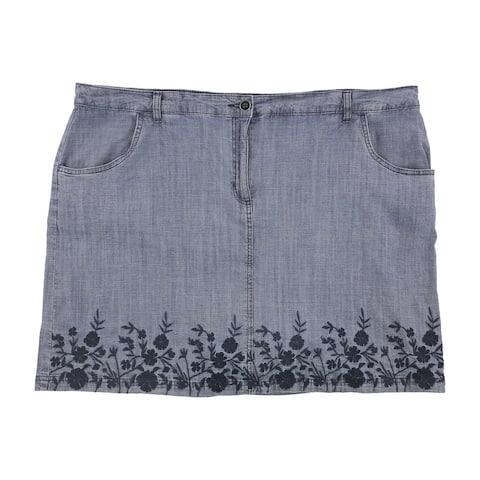 Karen Scott Womens Spring Border Skort Skirt, blue, 22W