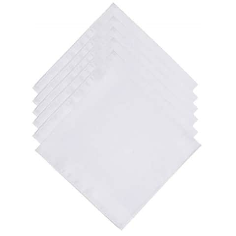 Men's White Fancy Plain Cotton Handkerchiefs