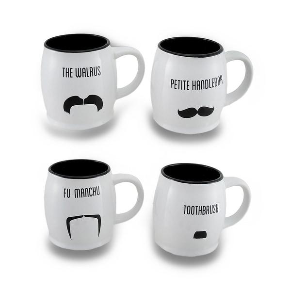 5cac56ae60 Shop Black and White 16 oz. Ceramic Mustache Coffee/Tea Mug Set of 4 ...