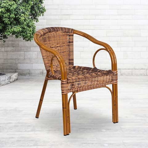 Rattan Restaurant Patio Chair with Faux Bamboo Frame