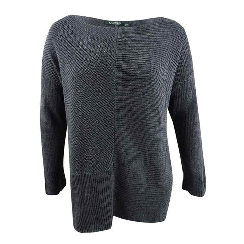 Lauren by Ralph Lauren Women's Plus Relaxed-Fit Sweater (3X, Dark Grey Heather) - Dark Grey Heather - 3X