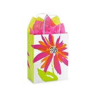 "Pack Of 25, Cub 8 X 4.75 X 10.5"" Brushed Floral Recycled Shopping Bags W/White Paper Twist Handles Made In Usa"