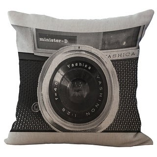 ChezMax Linen Blend Camera Pattern Print Cushion Cotton Square Decorative Throw Pillow 18 X 18''