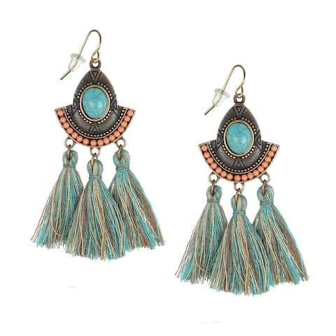 Boho Style Turquoise and Coral Tassel Earrings