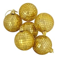 """6ct Gold Mirrored Glass Disco Ball Christmas Ornaments 2.75"""" (70mm)"""