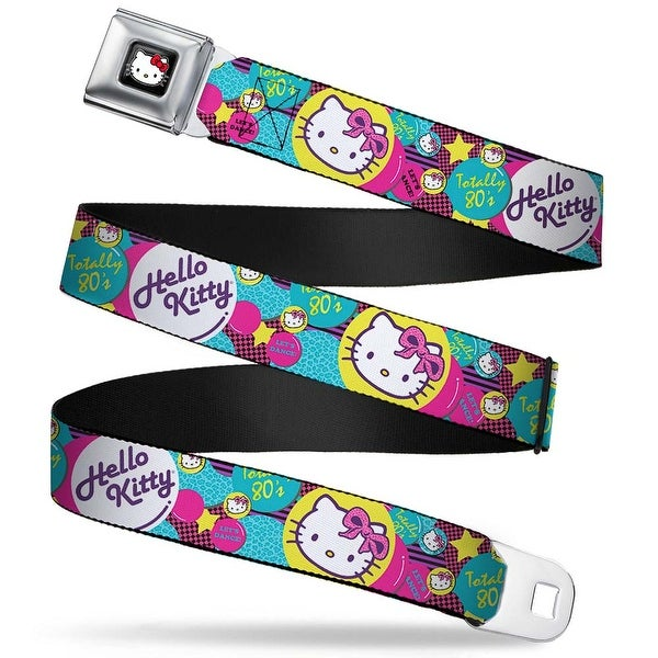 Hello Kitty W Red Bow Full Color Black Totally 80'S Hello Kitty Bubbles Seatbelt Belt