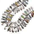 Czech Pressed Glass 3 x 10mm Dagger Beads - Crystal Vitrail (50) - Thumbnail 0