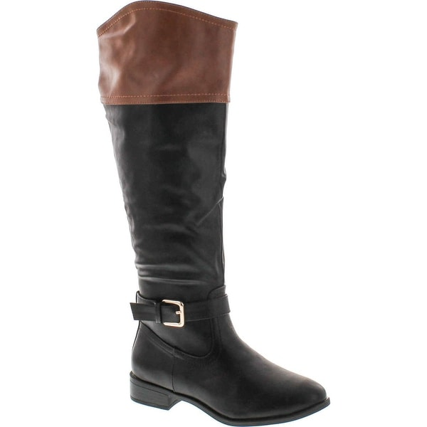 Bamboo Womens Asiana-76 Medallion Two Tone Riding Boots - Chestnut/Black - 5.5 b(m) us