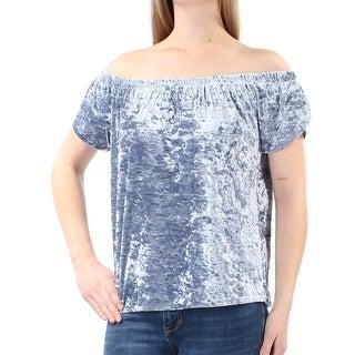 Womens Blue Short Sleeve Off Shoulder Top Size M