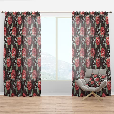 Designart 'Red Rose in Brown' Floral Curtain Panel