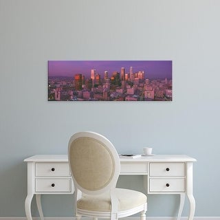 Easy Art Prints Panoramic Images's 'Los Angeles, Skyline, Sunset, California' Premium Canvas Art
