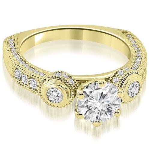 1.18 cttw. 14K Yellow Gold European Shank Three-Stone Diamond Engagement Ring