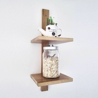 Rustic wood CD/DVD Storage Display 2 Tier Wall Mount Corner Shelves