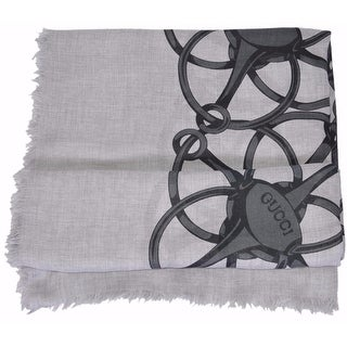 "Gucci Women's 367222 Grey Black Modal Wool Horsebit Logo Scarf Wrap - 55"" x 55"""
