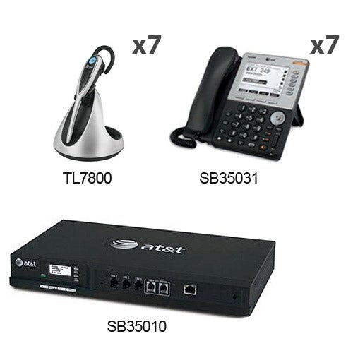 """""""AT&T SB35010 + (7) SB35031 + (7) TL7800 SB35010 With (7) Multi-Line 5"""" LCD Screen Desksets + (7) Cordless headsets"""""""