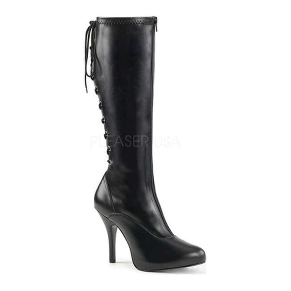 5e47e6f26a8e Shop Pleaser Pink Label Women s Eve 208 Knee-High Boot Black Stretch Faux  Leather - Free Shipping Today - Overstock - 17734160