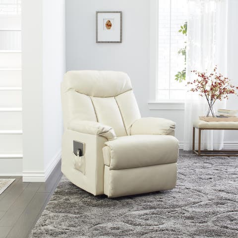 Copper Grove Off White Leather Power Recliner Chair