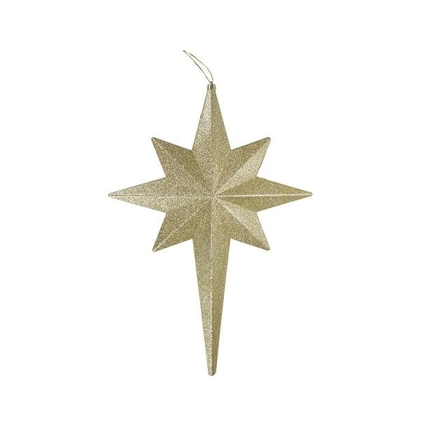"""20"""" Champagne Glittered Bethlehem Star Shatterproof Christmas Ornament"""