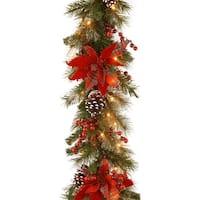 "9' x 12"" Pre-Lit B/O LED Tartan Plaid Artificial Christmas Garland – Warm White Lights - green"