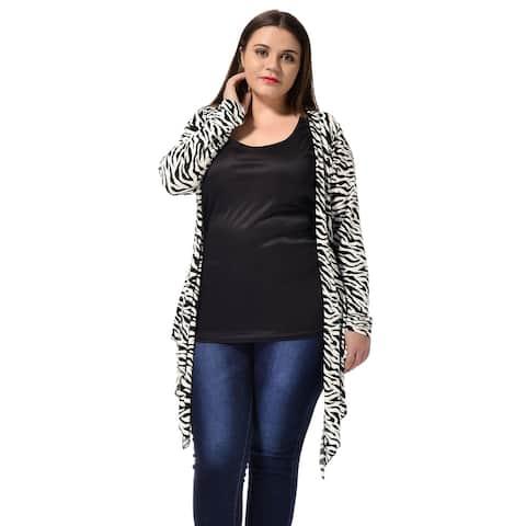 Unique Bargains Womens Plus Cardigan Plus Size Zebra Prints Open Front Drape Cardigan - Black