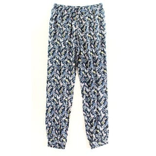Caslon NEW Blue Women's Size Small S Drawstring Printed Seamed Pants