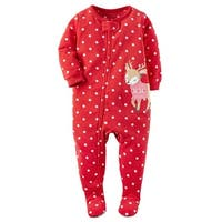 Carters Girls 12-24 Months Reindeer Fleece Sleepwear - Red