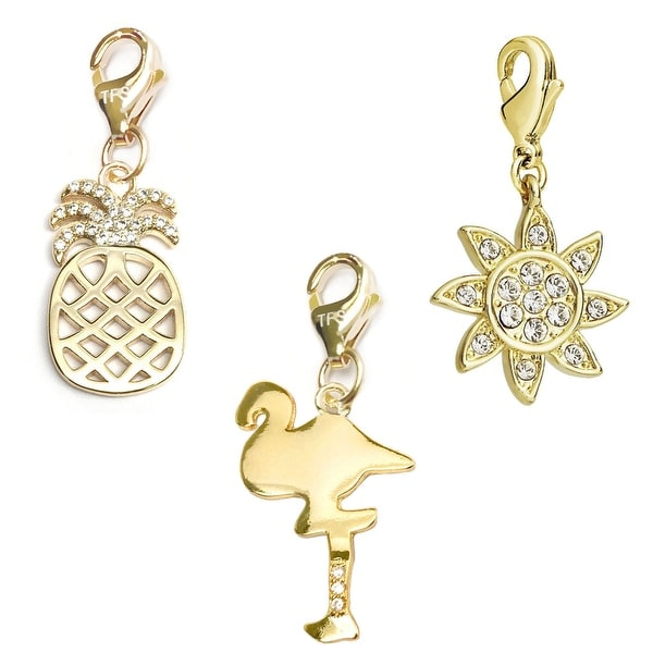 Julieta Jewelry Flamingo, Pineapple, Sun 14k Gold Over Sterling Silver Clip-On Charm Set
