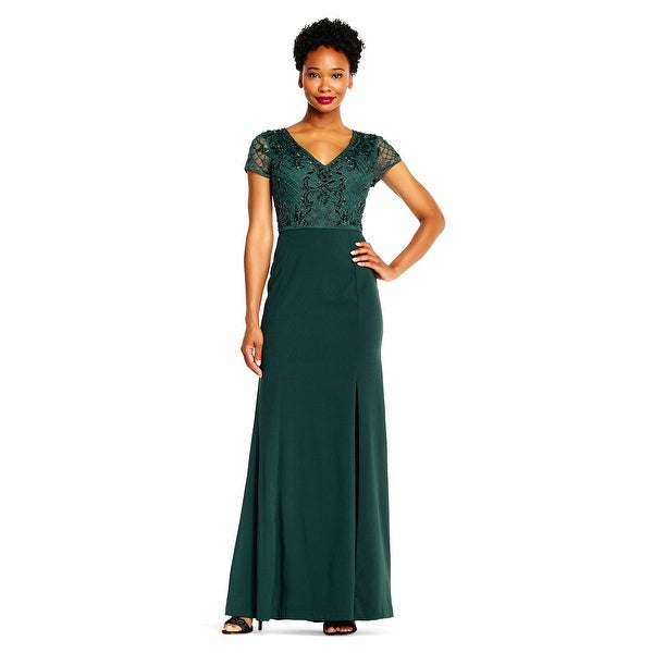 bb317accd061 Shop Adrianna Papell Short Sleeve Mermaid Gown Beaded Bodice, Dusty  Emerald, 20W - Free Shipping Today - Overstock - 23579671