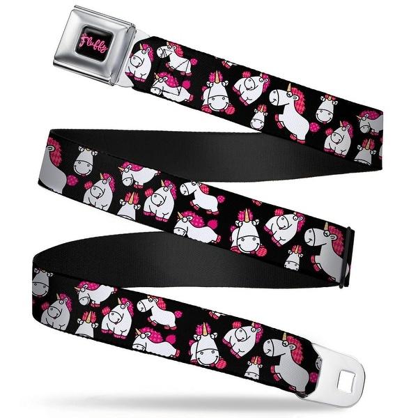 It's So Fluffy Script Full Color Black Pink Agnes' Unicorn Poses Scattered Seatbelt Belt