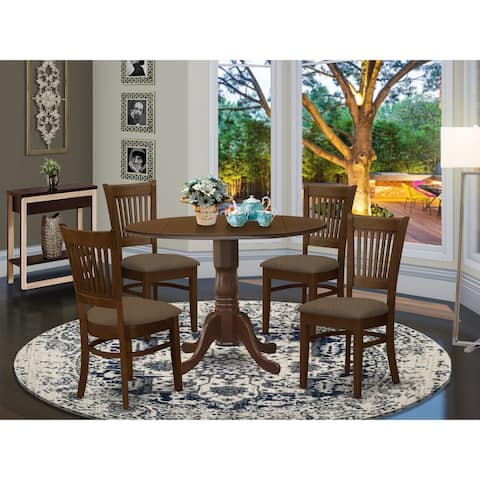 5-piece Kitchen Set Includes Dinette Table and 4 Chairs in Espresso Finish
